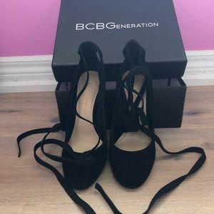 Black suede BCBG tie up heels